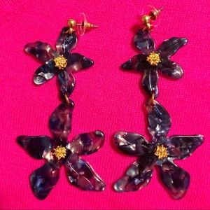 Acetate Lilly Flower Double Drop Earrings